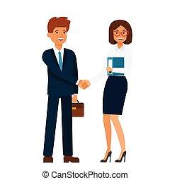 debout, plat, concept, femme affaires, isolé, ensemble, vecteur, illustration, fond, mains, homme affaires, blanc, secousse, dessin animé