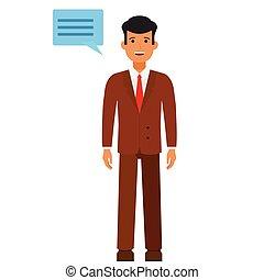 debout, plat, concept, isolé, illustration, vecteur, parole, fond, homme affaires, blanc, dessin animé