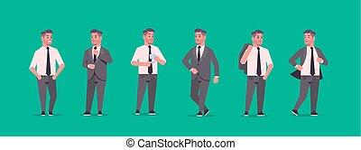 debout, plat, différent, entiers, bureau affaires, ouvriers...
