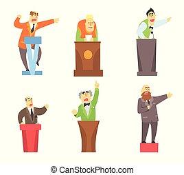 debout, plat, ensemble, conférence, donner, hommes, dessin animé, derrière, vecteur, parole, adulte, caractères, tribunes., mâle, public