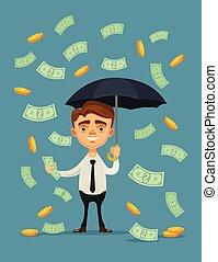 debout, plat, parapluie, bureau, argent, ouvrier, illustration, vecteur, rain., sous, prise, dessin animé, caractère