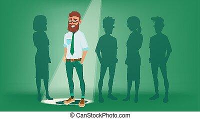 debout, plat, personnel, humain, foule, workers., bureau, recruitment., affaires illustration, métier, stand, man., choisir, worker., homme souriant, vector., dehors