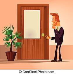 debout, plat, porte, bureau, thinking., confusion, ouvrier, caractère, illustration, vecteur, fermé, dessin animé, homme