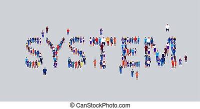 debout, plat, rassemblement, concept, mot, foule, professionnels, média, employés, businesspeople, ensemble, système, forme, communauté, social, groupe, horizontal, différent