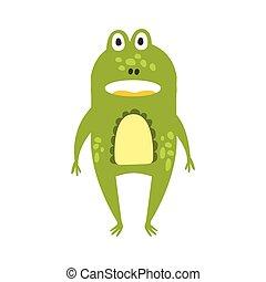 debout, plat, reptile, caractère, grenouille, dessin, revêtement, vert, animal, dessin animé, amical