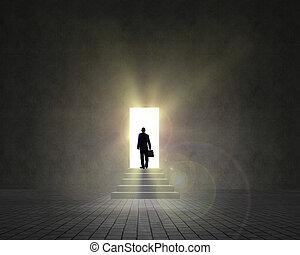 debout, porte ouverte, homme affaires