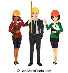 debout, porter, casque, équipe, presse-papiers, bande, tenue, mesure, sécurité, architecte, chapeau, modèles