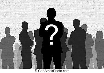 debout, question, homme affaires, silhouette, marque
