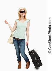 debout, quoique, tenue, femme, baggages