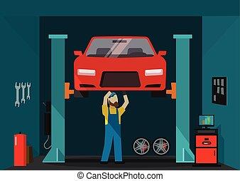 debout, réparation, illustration, voiture, garage, vecteur, mécanicien, auto, homme