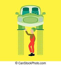 debout, réparation, soulevé, auto, sous, grue, mécanicien, voiture