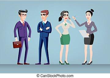 debout, réussi, multi, entiers, groupe, regard, bureau, longueur, isolated., ouvriers, global, businesspeople, confiant, vecteur, usure, hommes, équipe, femmes, ethnique, standing.