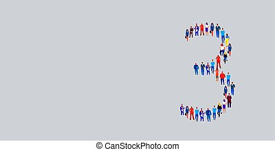 debout, rassemblement, concept, groupe, business, foule, gens, média, nombre, ensemble, trois, forme, businesspeople, entiers, communauté, social, longueur, 3