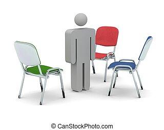 debout, render, chaises, trois, gris, figurine, entre, coloré, 3d