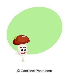 debout, rigolote, champignon, hanches, caractère, bras, figure, sourire, porcini