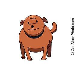 debout, rigolote, character., illustration., brun, bulldog., chien, plat, isolé, arrière-plan., vecteur, blanc, sourire, dessin animé
