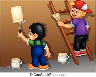 debout, rigolote, garçon, mur, peinture, dessin animé