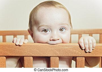 debout, rigolote, peu, berceau, beau bébé, blanc, rond