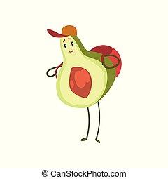 debout, rigolote, sac à dos, avocat, caractère, fruit, vecteur, illustration, fond, émotif, blanc, dessin animé