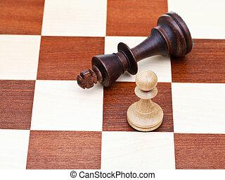 debout, roi, baissé, échecs, pion