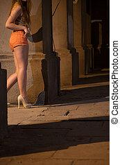 debout, rue, prostituée