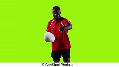 debout, rugby, arrière-plan vert, joueur boule, professionnel, pointage, 4k