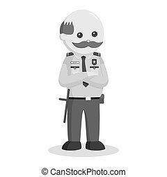 debout, sécurité, pose, officier, graisse