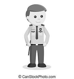 debout, sécurité, pose, officier