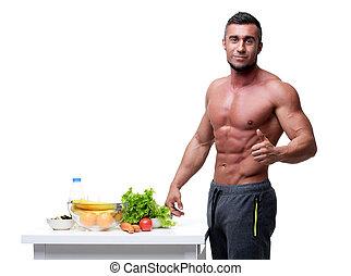 debout, sain, haut, musculaire, nourriture, pouces, homme, ...