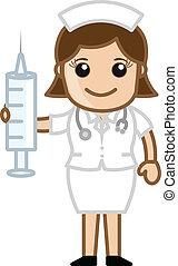 debout, seringue, infirmière