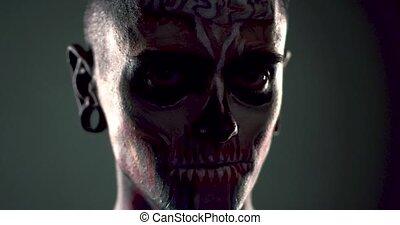 debout, shadow., homme, squelette, figure