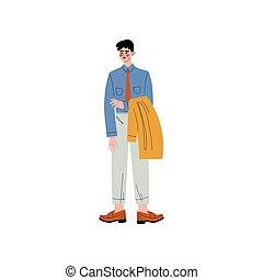 debout, sien, bureau, business, caractère, illustration, veste, entrepreneur, directeur, vecteur, employé, tenant mains, ou, homme