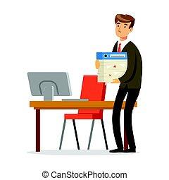 debout, sien, bureau, réussi, illustration, vecteur, tenue, papiers, homme affaires, pile