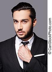 debout, sien, cravate, always, ajustement, jeune, formalwear, gris, quoique, contre, fond, beau, style., homme