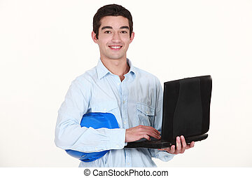 debout, sien, laptop., quoique, architecte, dactylographie