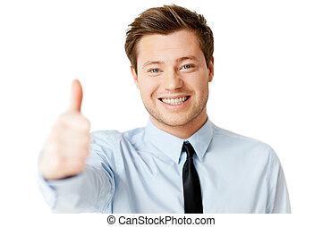 debout, sien, pouce haut, projection, isolé, jeune, tout, quoique, great!, homme, cravate, blanc, beau, sourire, chemise