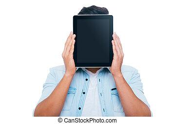 debout, sien, tablette, derrière, face., jeune, contre, figure, quoique, fond, numérique, blanc, dissimulation, homme