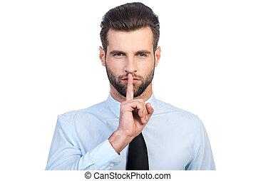 debout, silence!, chemise, fond, jeune, contre, garder, regarder, confiant, lèvres, appareil photo, quoique, doigt, tenue, cravate, blanc, homme, beau