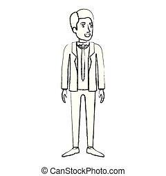 debout, silhouette, brouillé, complet, cravate, homme, formel