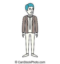 debout, silhouette, couleur, complet, cravate, homme, sections, formel