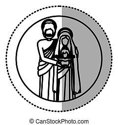 debout, silhouette, famille, autocollant, sacré, circulaire
