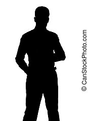 debout, silhouette, homme