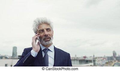 debout, smartphone, téléphone, mûrir, homme affaires, confection, terrasse, call.