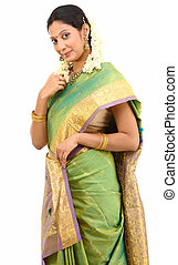 debout, soie, sari, femme