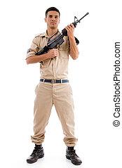 debout, soldat, poser, fusil