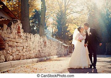 debout, soleil, couple, automne, baisers, arrière-cour, shines, sur