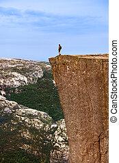 debout, solitaire, -, lysefjord, fjord, falaise, norvège, preikestolen, homme