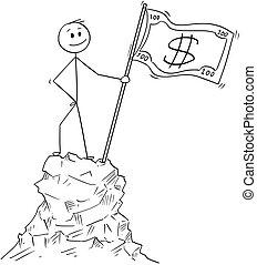 debout, sommet montagne, note, dollar, dessin animé, drapeau, pic, homme affaires, ou