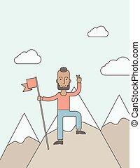 debout, sommet, mountain., caucasien, heureux
