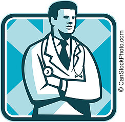 debout, stéthoscope, retro, docteur